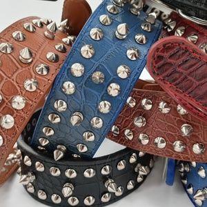 1 Studded Spiked Rivet Dog Leather Collar Large